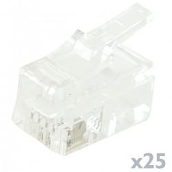 Conector telefónico RJ9 macho 4P4C para crimpar paquete de 25 unidades