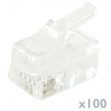 Conector telefónico RJ9 macho 4P4C para crimpar en paquete de 100 unidades
