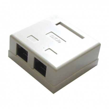Caja de superficie de 2 RJ45 Cat.5e UTP