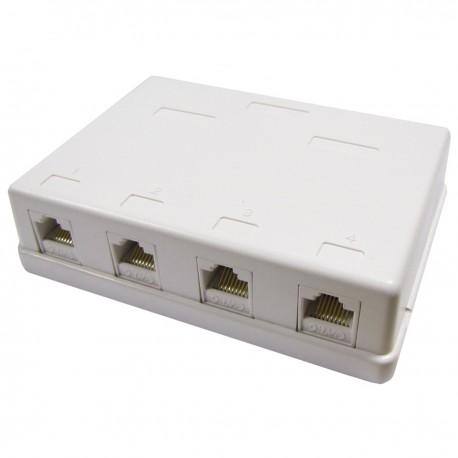 Caja de superficie de 4 RJ45 Cat.6 UTP