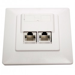 Placa de pared de 80x80 de 2 RJ45 Cat.5e UTP