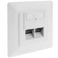 Placa de pared de 80x80 de 2 RJ45 Cat.5e FTP