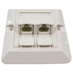 Placa de pared de 80x80 de 2 RJ45 Cat.6 UTP