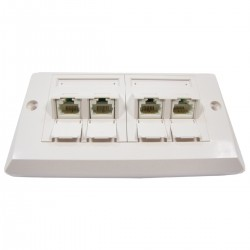 Placa de pared de 140x80 de 4 RJ45 Cat.6 UTP
