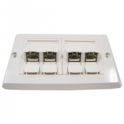 Placa de pared de 140x80 de 4 RJ45 Cat.6 FTP