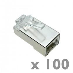 Conector FTP Cat.5e RJ45 macho para crimpar a cable 100-pack