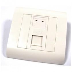 Caja de pared o canaleta de 80x80 con 1 RJ45 UTP Cat.6 568B