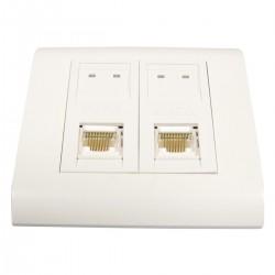 Caja de pared o canaleta de 80x80 con 2 RJ45 UTP Cat.6 568B