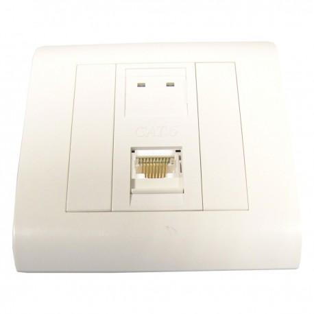 Caja de pared o canaleta de 80x80 con 1 RJ45 FTP Cat.6 568B