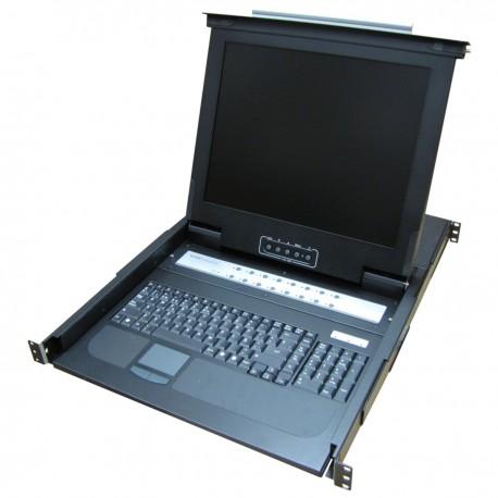 """Consola KVM rack 19"""" de 16 puertos de RackMatic con teclado español"""