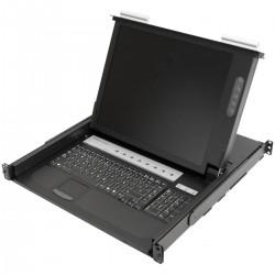 """Consola y conmutador KVM de 8 puertos para rack 19"""" 1U. Teclado mousepad y pantalla 17"""""""