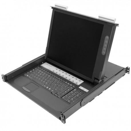 """Consola y conmutador KVM de 16 puertos para rack 19"""" 1U. Teclado mousepad y pantalla 17"""""""