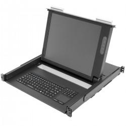 """Consola IP65 para armario rack 19"""" 1U. Teclado mousepad y pantalla 17"""" VGA para servidor rack"""