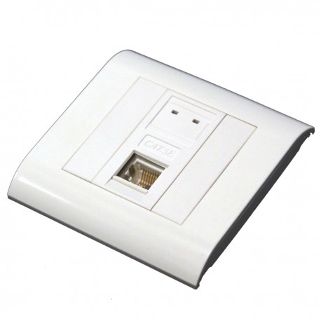 Caja de pared o canaleta de 80x80 con 1 RJ45 FTP Cat.5e 568B