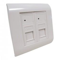 Caja de pared o canaleta de 80x80 con 2 RJ45 FTP Cat.5e 568B
