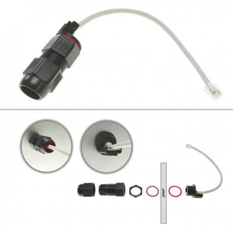 Empalme de cable RJ45 para exteriores con latiguillo de 25 cm