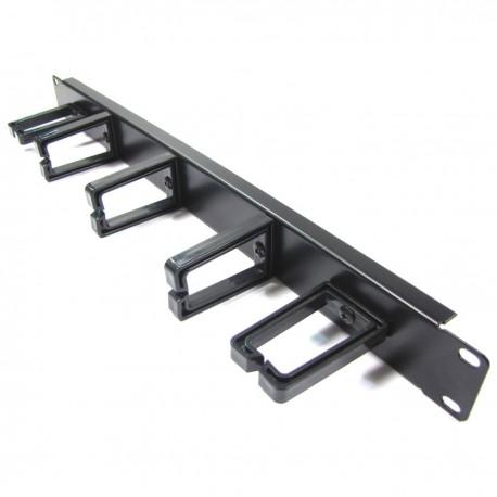 """Panel guíacables para armario rack 19"""" 1U con 2+3 anillas para gestión de cables"""