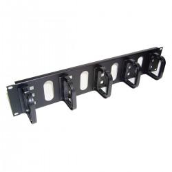 """Panel guíacables para armario rack 19"""" 2U con 5 anillas para gestión de cables"""
