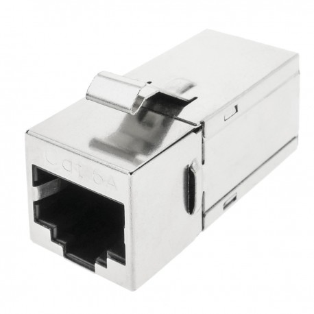 Conector keystone RJ45 hembra a RJ45 hembra Cat.6A FTP compacto metálico