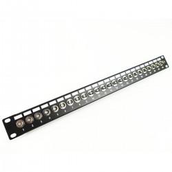 """Patch panel de 24 puertos BNC hembra para rack 19"""""""