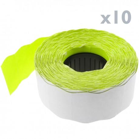 Rollo bobina de 1000 etiquetas adhesivas amarillas 26x16mm 10 unidades