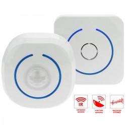 Detector de presencia inalámbrico acústico y luminoso con alcance de 60m y 8 tonos
