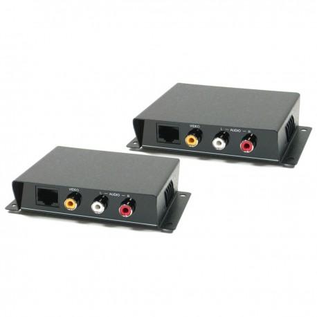Extensor de audio y vídeo compuesto UTP Cat.5 emisor y receptor CE01A