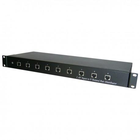 """Distribuidor de audio y vídeo UTP Cat.5 rack 19"""" 9 puertos CE09A"""