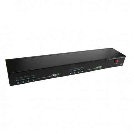 """Transceptor de vídeo activo para rack 19"""" con 8 puertos dobles BNC a 2 puertos RJ45 o Terminal Block"""