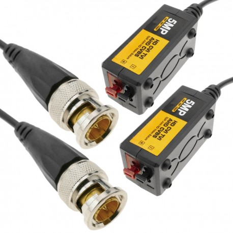Balun pasivo de vídeo HD CVI TVI AHD CVBS a 720p/960p/1080p/3MP/4MP/5MP 400m 2-pack