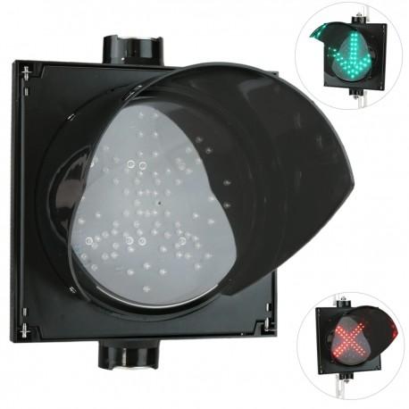 Semáforo para interior y exterior IP65 negro de 1 x 200mm de 12-24V con verde-flecha y roja-cruz