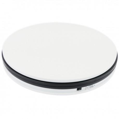 Base giratoria eléctrica de 45 cm. Plataforma rotatoria de color blanco