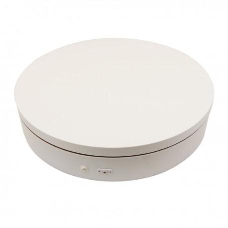 Base giratoria eléctrica de 60 cm. Plataforma rotatoria de color blanco con control remoto