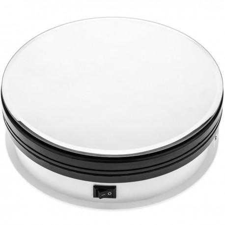 Base giratoria eléctrica de 15 cm. Plataforma rotatoria con espejo