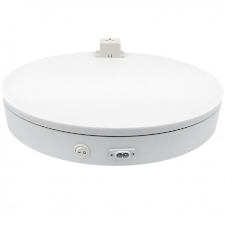 Base giratoria eléctrica de 40 cm. Plataforma rotatoria de color blanco con enchufe
