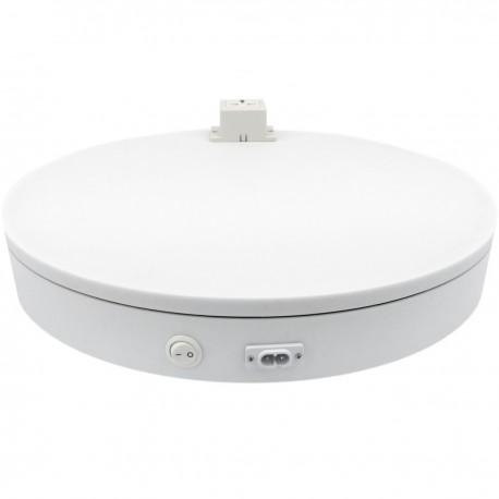Base giratoria eléctrica de 50 cm. Plataforma rotatoria de color blanco con enchufe