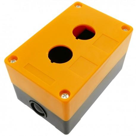 Caja de control de dispositivos eléctricos para 2 pulsador o interruptor de 22 mm amarillo