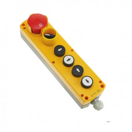 Caja de 4 pulsadores momentaneos y parada de emergencia i selector de la serie LAY5
