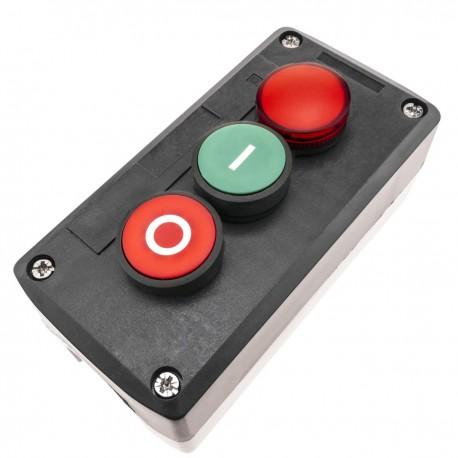 Caja de control con 2 pulsadores momentaneos verde 1NO rojo 1NC con luz piloto