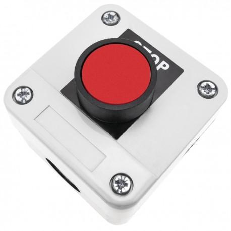 Caja de control con 1 pulsador momentaneo rojo 1NC
