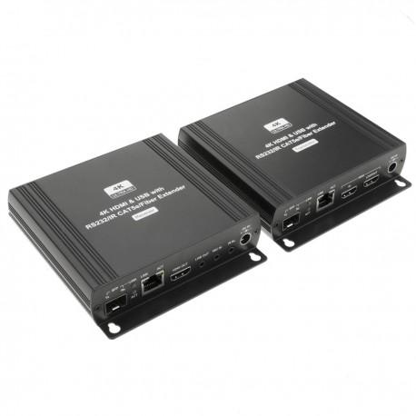 Extensor de HDMI 4K UHD con AUDIO USB RS232 IR por cable UTP Cat.5e y fibra óptica SFP