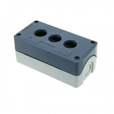 Caja de control de dispositivos eléctricos para 3 pulsadores o interruptores de 22 mm gris