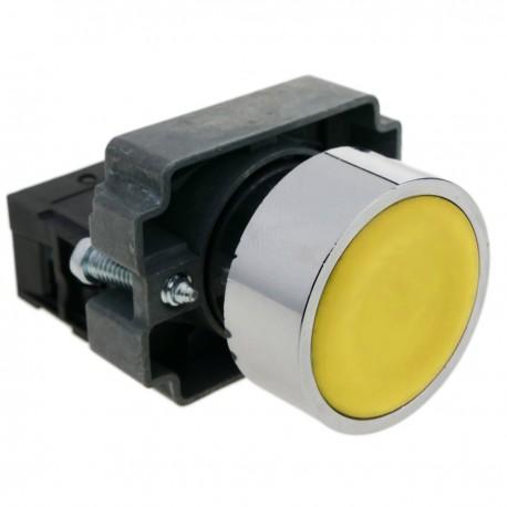 Pulsador momentáneo 22mm 1NO 400V 10A normal abierto amarillo