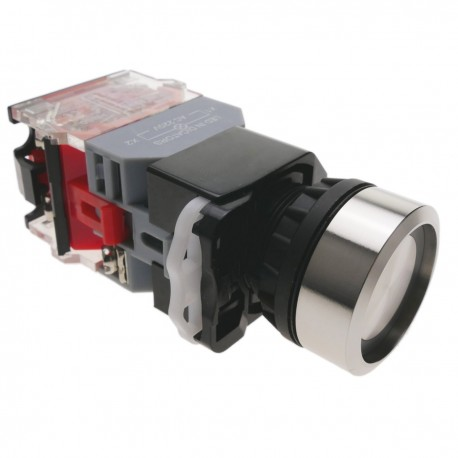 Pulsador de enganche 22mm 500V 10A con luz LED
