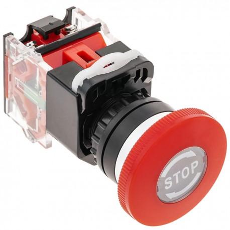 Pulsador de parada de emergencia 22mm 1NO1NC 500V 10A con bloqueo con STOP de 40mm