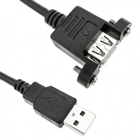 Cable USB 2.0 con contector para fijación a panel USB A macho a USB A hembra 100 cm