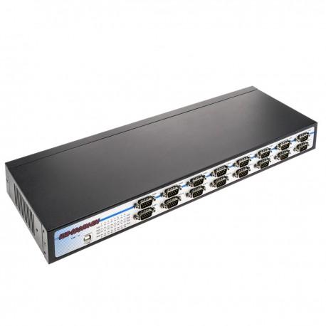 """Adaptador USB a RS232 VSCOM 16 puertos AM 16xDB9M compatible con carril DIN y rack 19"""" 1U"""