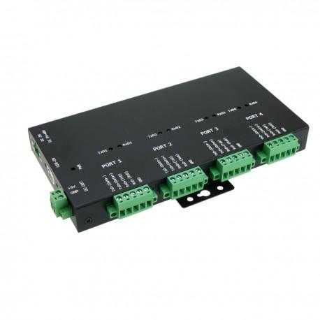 Adaptador industrial USB 2.0 a RS232 RS422 RS485 de 4 puertos