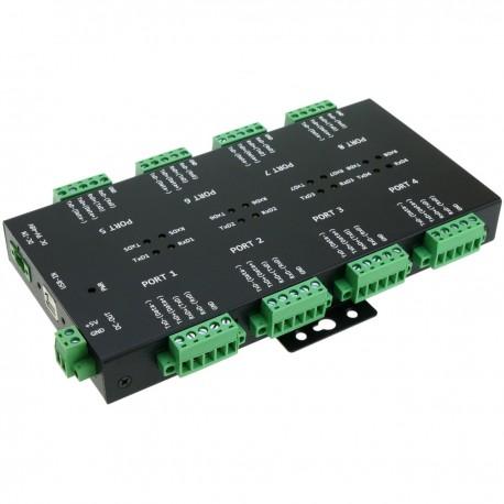 Adaptador industrial USB 2.0 a RS232 RS422 RS485 opto-aislado de 8 puertos
