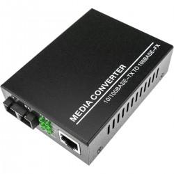 Conversor de fibra óptica 100 Mbps monomodo de SC a RJ45 a 20Km